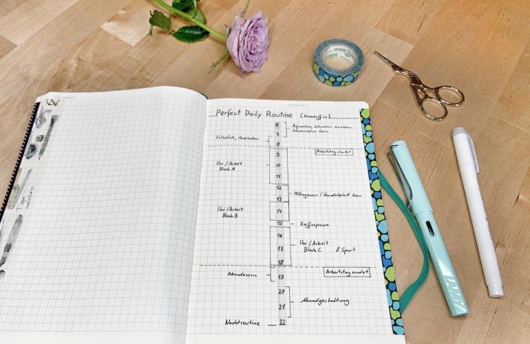 Bild einer Zeitleiste mit einem Tagesablauf