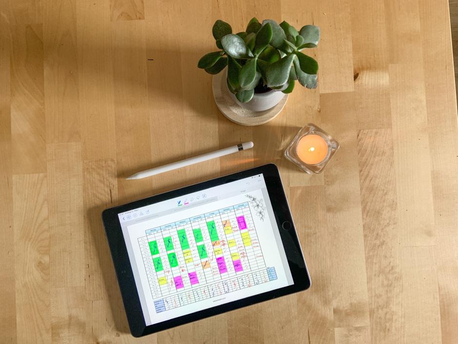 iPad mit einem Soll-Ist-Plan